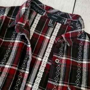 Forever 21 Maroon Plaid Flannel Button Dow…